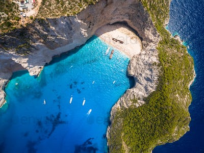 Aerial  view of Navagio beach Shipwreck view in Zakynthos (Zante