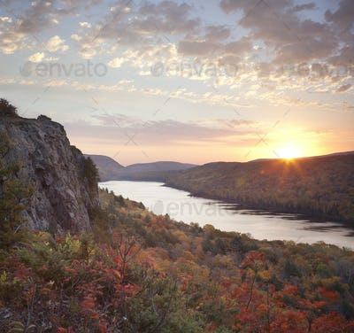 Lake of the Clouds in Michigan in Fall Color at Sunrise
