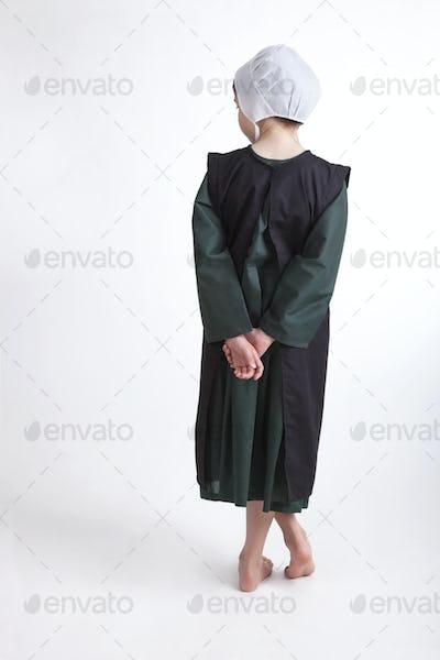 Old Order Amish Child Isolated on White Background