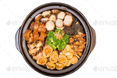 "Chinese styled Abalone mixed dish. Also known as ""Poon Choy"" in Chinese"
