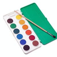 water-colors and paintbrush