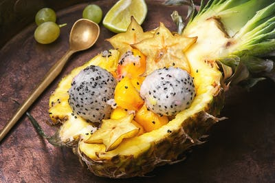 Pineapple stuffed with exotic fruits