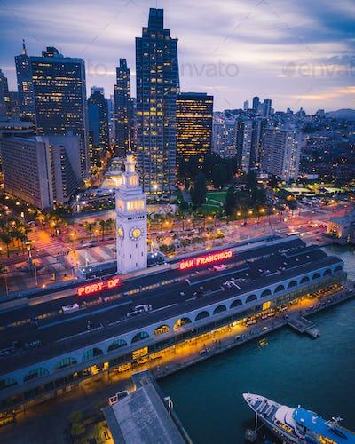 Aerial view of San Francisco at Night