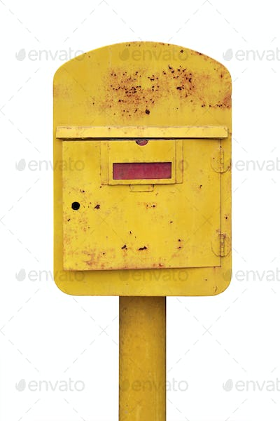 Old yellow mailbox