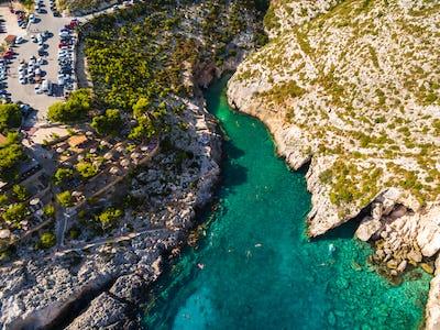 Aerial  view of Porto limnionas beach in Zakynthos (Zante) islan