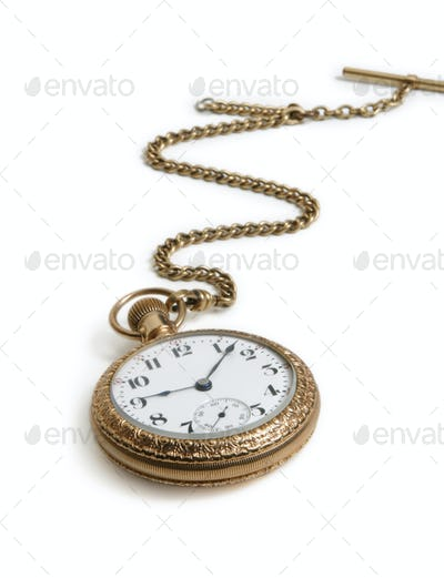Antique Watch with Chain Isolated on White Background