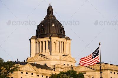 Sun Rising South Dakota State Capital Building Hughes County Pierre