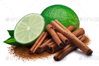 Lime with cinnamon, clipping paths