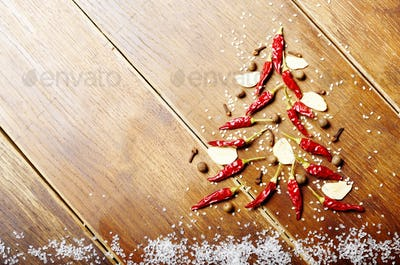 Christmas backround made of spices and salt