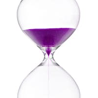 Hourglass with violet sand on white background
