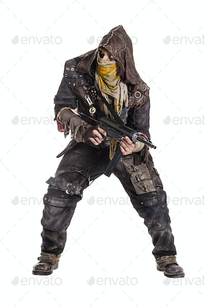 Grimy survivor with homemade weapons