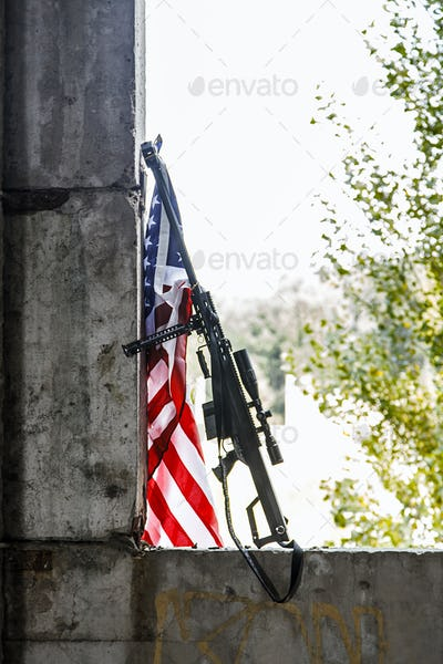 sniper rifle with US banner