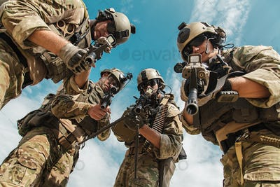 US Army Rangers with weapons