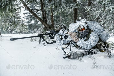 Sniper and spotter somewhere above the Arctic circle