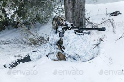 Winter arctic mountains sniper