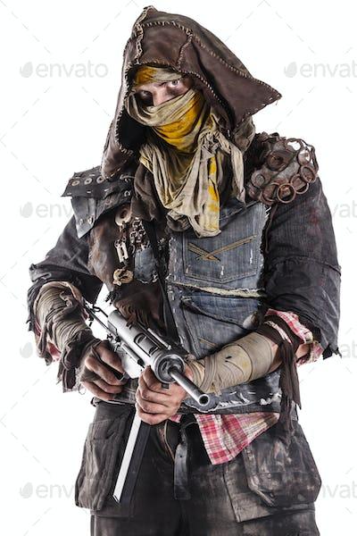 post apocalypse survivor with weapons.