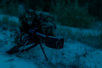 Army sniper on a stakeout