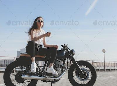 Biker woman on motorcycle