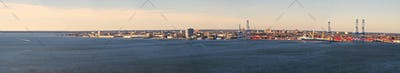 wide aerial panorama of charleston south carolina
