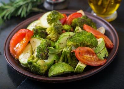 Stew of baked vegetables. Healthy food. Proper nutrition. Vegan dish