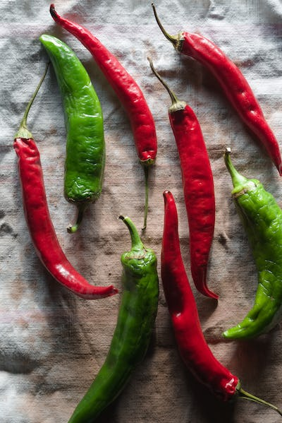 Harvest of chilli on a gray napkin