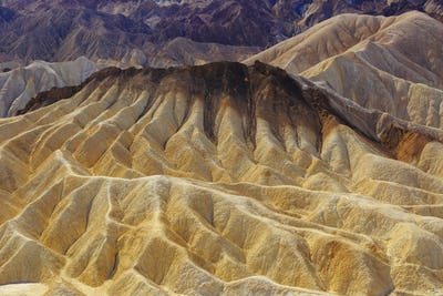 Zabriskie point cracked landscape view in national park Death Valley, USA
