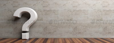 Question mark on wooden floor and marble wall background. 3d illustration