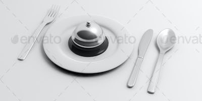 Place Setting and hotel bell on white background. 3d illustration