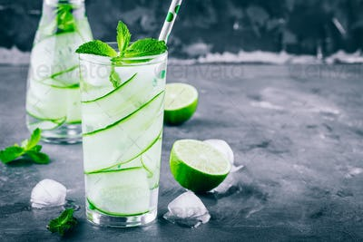Ice cold and refreshing detox water cucumber and mint