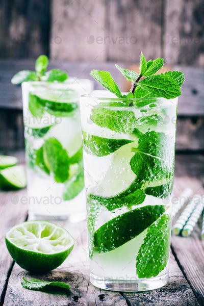 fresh cold lemonade with lime, mint and ice in glass