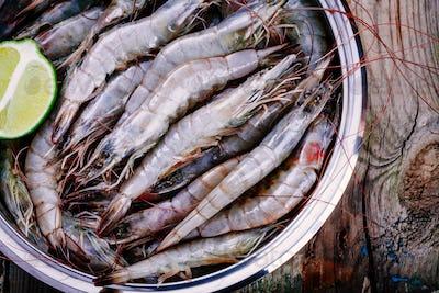 Whole fresh raw shrimps seafood closeup