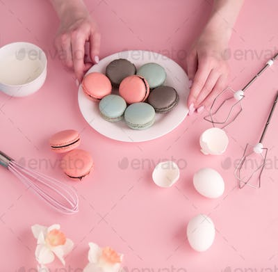 cookies cream on pink background