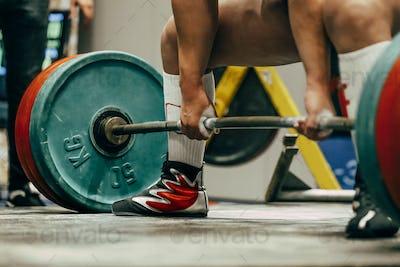 Powerlifter to prepare exercise deadlift