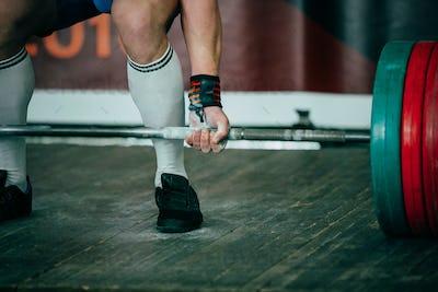 Athlete of powerlifter deadlift