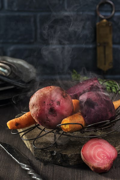 Steamed beets and carrots