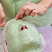 Alginate face mask close up