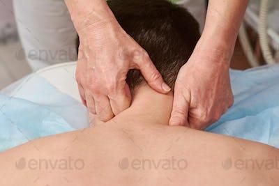 Neck massage close up