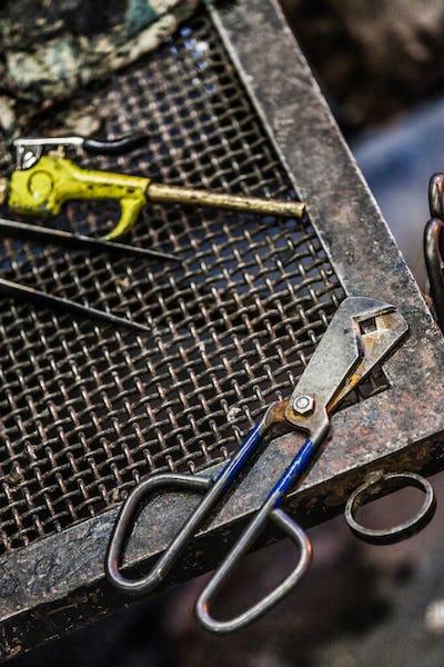 Blowing Glass Diamond Shear Scissors and air Blower
