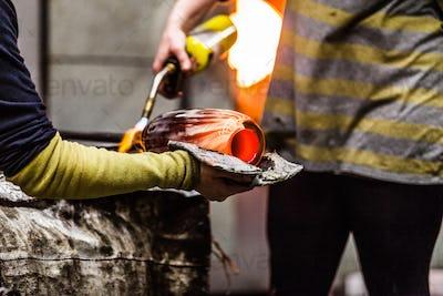 Blowing Glass Closeup of Propane Gas Flame