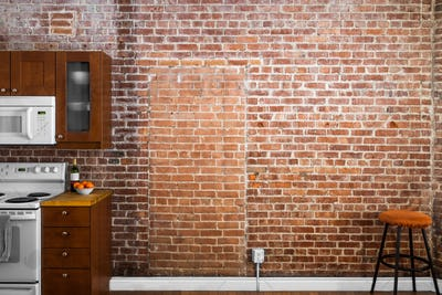 Industrial Old Flat Brick Wall Perspective in a kitchen.