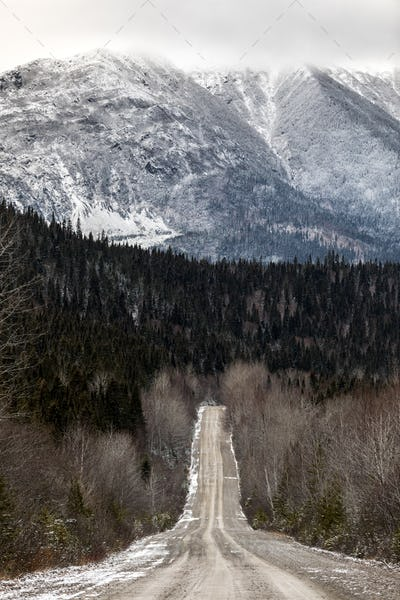 Winter Landscape from Top of Mountain in Canada, Quebec Road wit