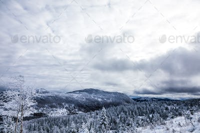 Winter Landscape from Top of Mountain in Canada, Quebec