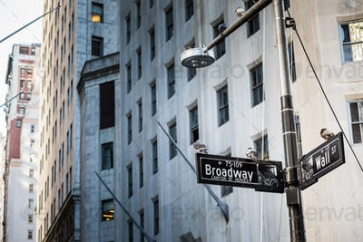 Wall Street Sign in Manhattan City, New York