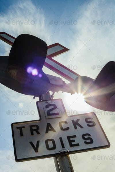 Two Train Track Sign and Light