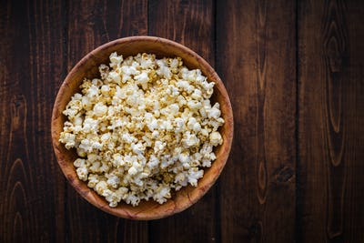 Spiced Popcorn in a Wooden Bowl