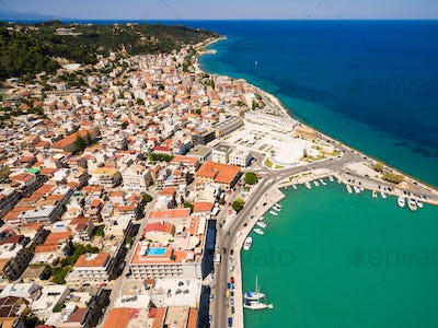 Aerial  view of Zakynthos city in  Zante island, in Greece
