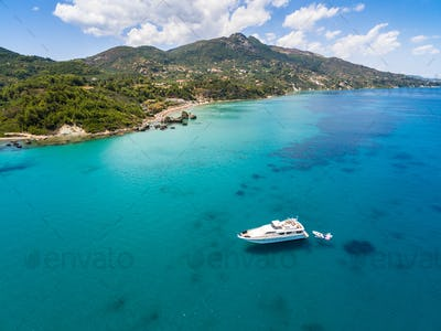 Aerial  view of a boat mooring in Porto Zorro  Azzurro beach in