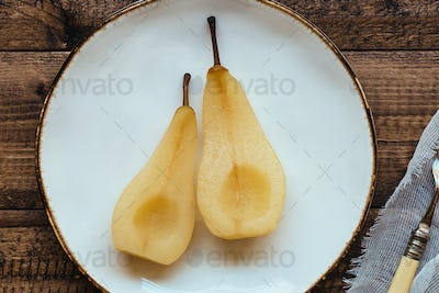 Poached Pear Dessert on Plate