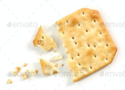 pieces and crumbs of cracker