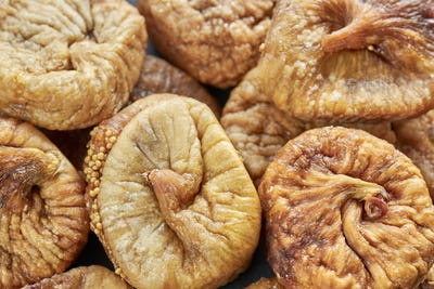 Extreme close up picture of dried figs.